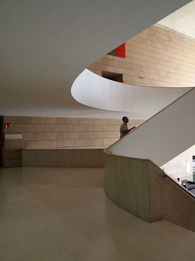 Ascending the central stair at the IVAM museum in Valencia, Spain.